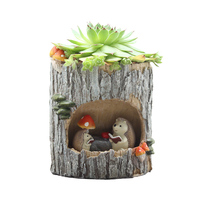 Cute Cartoon Imitation Wood Succulents Pastoral Flowers Potted Personality Balcony Decorative Plant For Pot