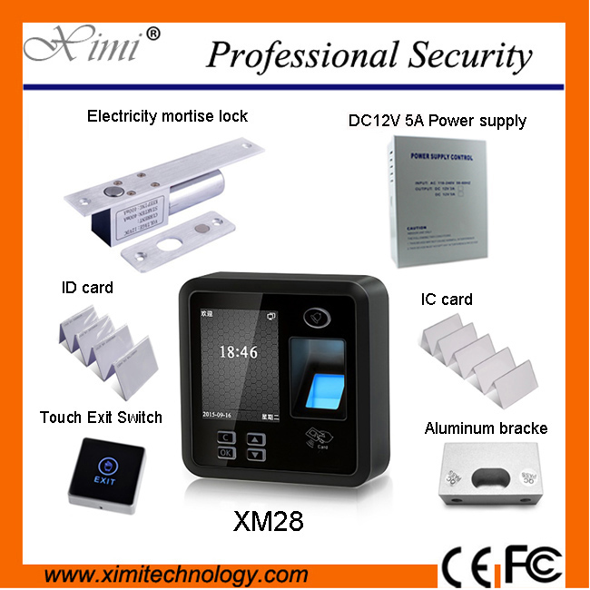 Biometric fingerprint gate access control system XM28, with an electric plug, power, aluminum support and exit button RFID Carme