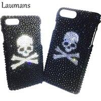 Ghost 3d Laumans jewelled 4S 5S מקרי טלפון עבור iphone X 6 6 s 7 8 בתוספת בלינג ריינסטון יהלומי גולגולת הגנה הקשיח אחורי כיסוי