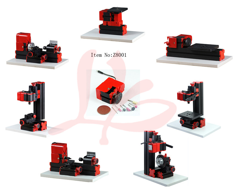 Z8001 8 in 1 mini lathe jigsaw, wood turning/metal lathe, milling/drilling/sanding,hand held,drilling with dividing plate