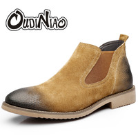 OUDINIAO Fashion 2018 Chelsea Boots Men Slip On Pig Suede Vintage New Boots Mens Round Toe Split Leather Men Ankle Boots Black