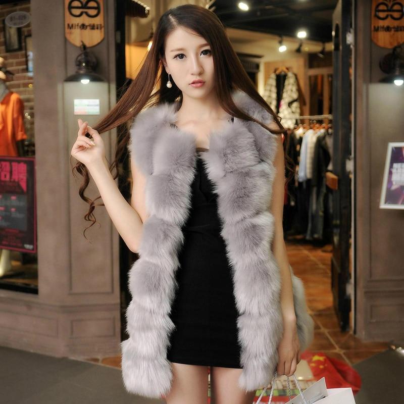 Popular Ladies Long Faux Fur Vest Gilet-Buy Cheap Ladies Long Faux ...