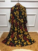 Livraison Gratuite Dress Nouveau Style 2017 Printemps Eté Dress Femmes Turn-down Collar Coloré Feuilles Imprimer Big Swing Casual jour Dress