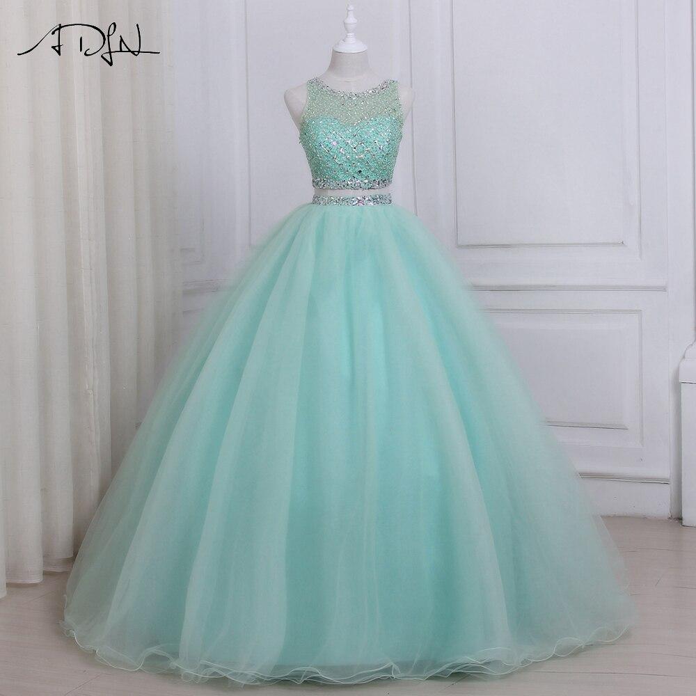 ADLN 2019 высокое качество два предмета Quinceanera платье с круглым вырезом без рукавов бисером кристаллы Сладкие 16 Платья на молнии сзади
