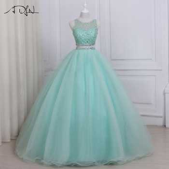 ADLN 2019 High Quality Two Piece Quinceanera Dress O-neck Sleeveless Beaded Crystals Sweet 16 Dresses Zipper-up Back - DISCOUNT ITEM  27% OFF All Category
