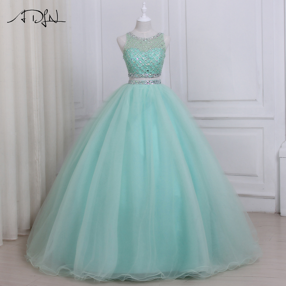 ADLN 2019 High Quality Two Piece Quinceanera Dress O neck Sleeveless Beaded Crystals Sweet 16 Dresses Zipper up Back