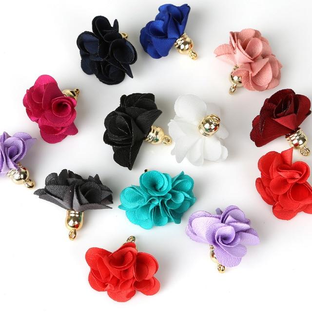 30PCS Multi Color Handmade Silk Satin 30mm Flower Tassel Pendants For DIY Keychain Cellphone Strap Various Jewelry Material