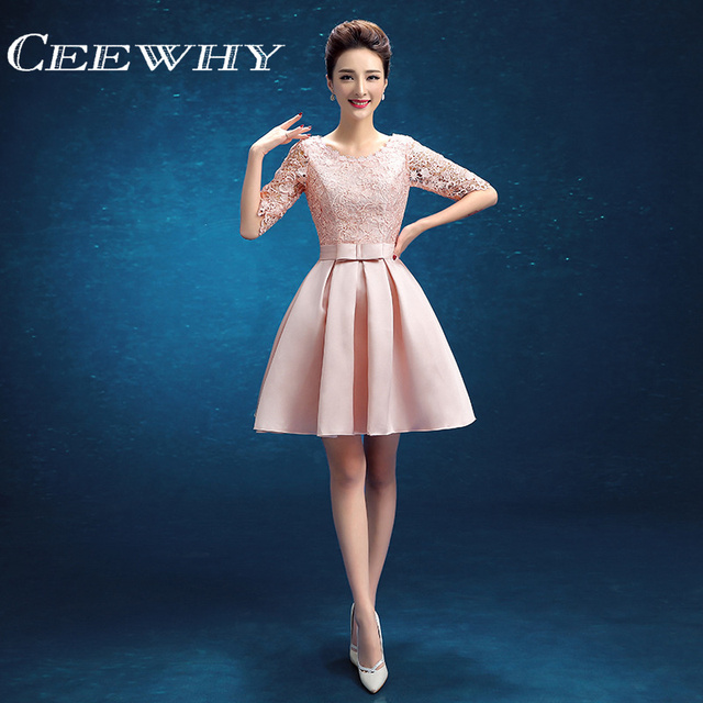 df4a01a5a8102 CEEWHY Half Sleeve Robe de Cocktail Dress 2017 Short Lace Homecoming Wedding  Party Dress Special Occasion Gowns Knee-length