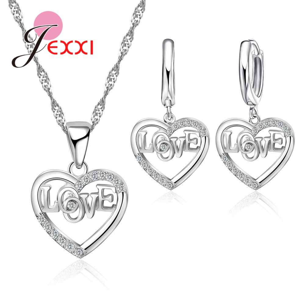 JEXXI Cubic Zirconia Factory Price Font Crystal Stone Anniversary Jewelry Set 925 Sterling Silver Necklace Earring