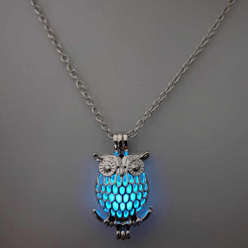Ночное свечение мяч сова жемчужина клетка аксессуары Ожерелье Диффузор для эфирных масел медальон для Жемчужница Для женщин