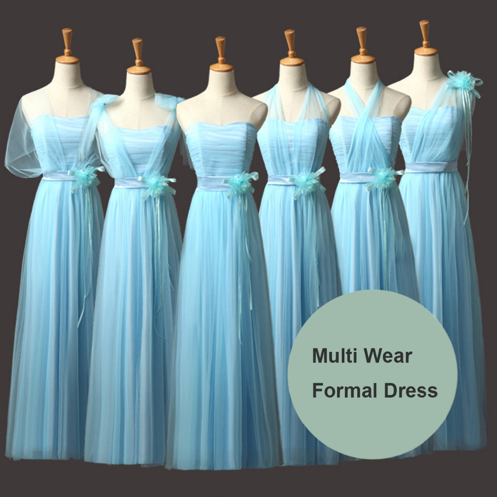 Online get cheap wrap bridesmaid dresses aliexpress alibaba women light blue bridesmaid long dress wedding convertible multi way wrap dress bridemaids dresses party formal ombrellifo Choice Image