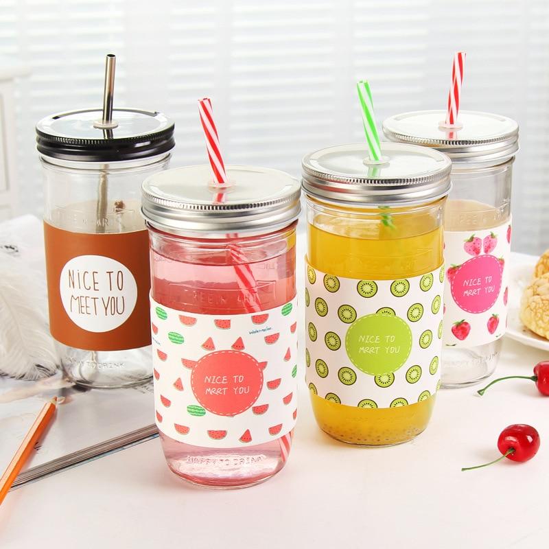 Keythemelife Creative Fruit Transparent Juice Water Bottles Mason Jar Lemon Water Bottles with Straw Sport Water