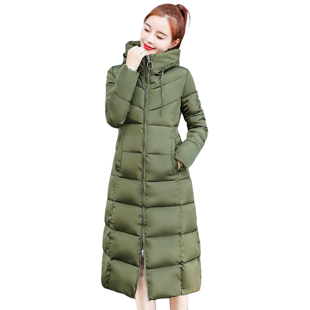 Fashion Plus Size Solid Slim Women Winter Hooded Coat Thick Down Parka Long Female Winter Down Cotton Jacket Outwear