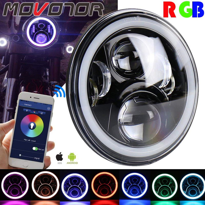 1 x H4 Motorcycle Headlight 7 Light Bluetooth Remote Round RGB LED Headlamp for Harley Davidson