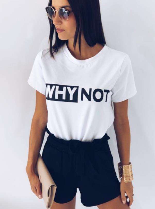 WHY NOT Letters Print Women Tshirt Cotton Casual Funny T-shirt Lady Yong Girl Top Tee Drop Ship PY-5
