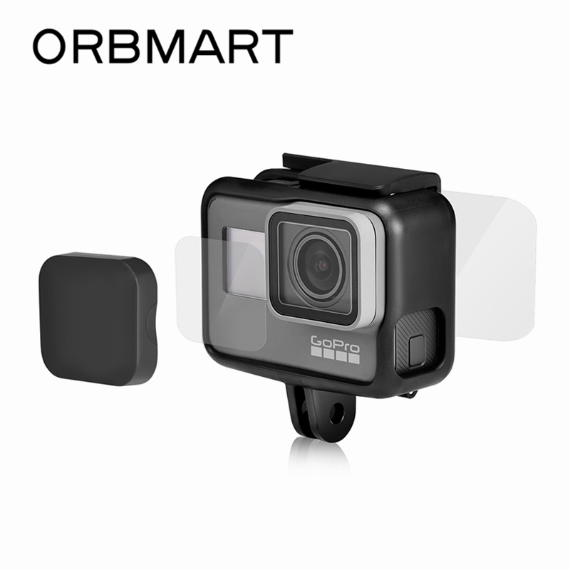 ORBMART Ultra-Clear Tempered Glass Lens Protector + Screen Protector + Hard Lens Cap Cover For GoPro Hero 5 6 7 Black Gopro5 tempered glass protector cover case for gopro go pro hero 5 6 7 hero5 hero6 hero7 black camera lens lcd screen protective film