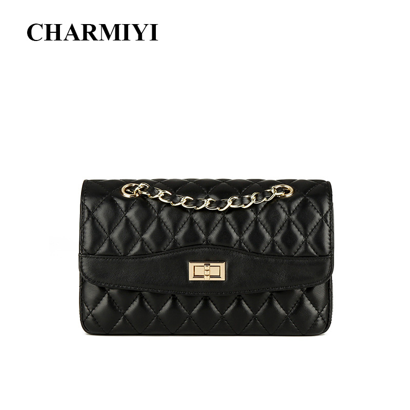 CHARMIYI Genuine Leather Women Flap Bags Diamond Lattice Women Shoulder Bag Luxury Ladies Handbags Messenger Bags for Female monfere genuine leather chain bags for women 2018 luxury handbags women bags designer leather flap ladies shoulder messenger bag