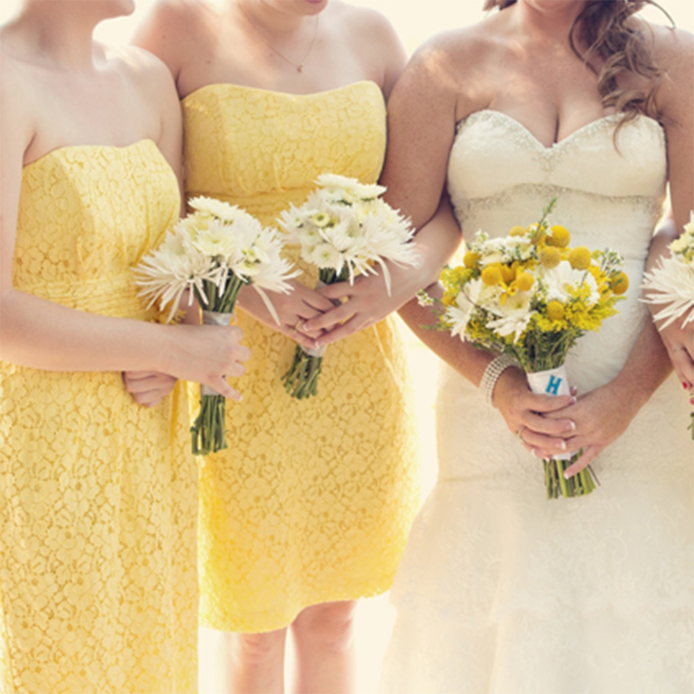 Cute Short Yellow Lace Bridesmaid Dresses Empire Strapless Dress Women Knee Length Gowns For Party B79 In From