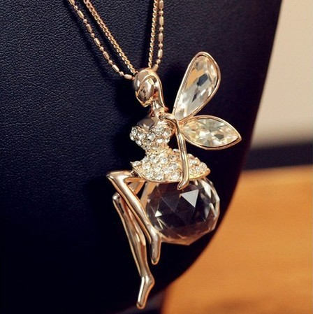 Free Shipping 2017 New Fashion Angel Figure Shaped Crystal Pendant Necklaces Crystal Costume Sweater Necklaces for Women Gifts