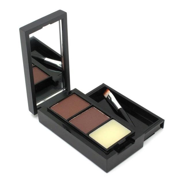 Venda quente Profissional da sombra de Olho Sombra de Olho Sobrancelha Maquiagem 2 Cores sobrancelha Pó + Cera de Sobrancelha Paleta + Escova + Inglês instrução