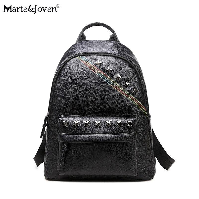 New Fashion Rock Style Girls PU Leather Backpack Women Vintage Rivet Knapsack Brand Design Mochila Black