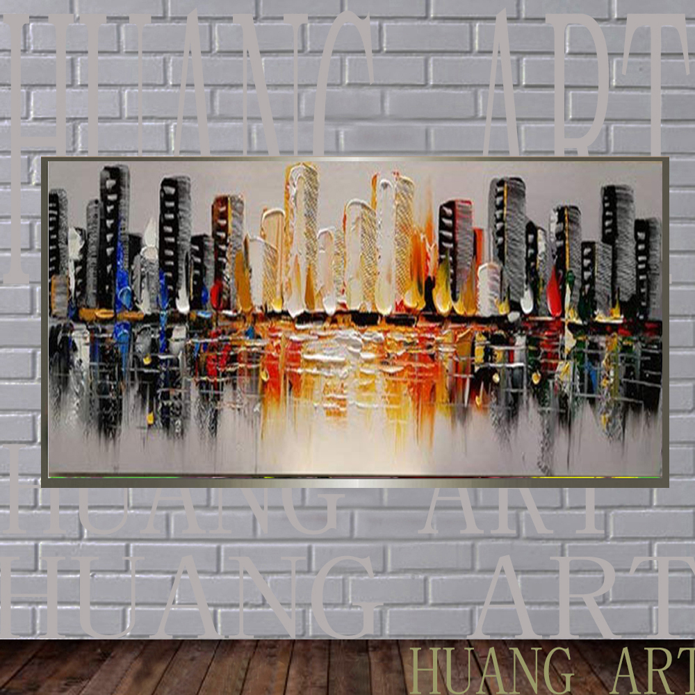Arts Hand Paint Modern Abstract Oil Painting on Canvas Abstract City Pictures Wall Art For Decoration Lobby of large mural hotel
