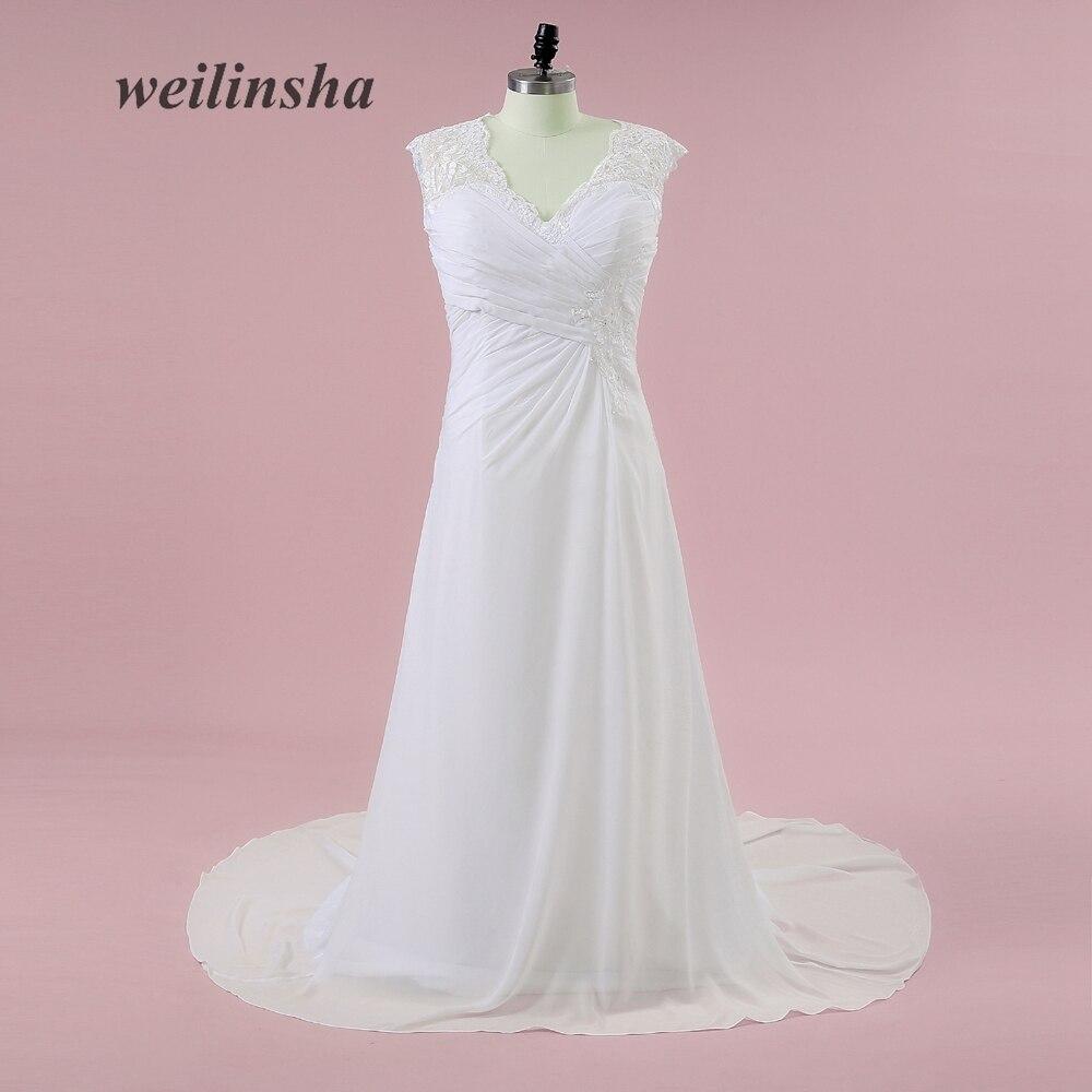 f0b40f48ca149fa Weilinsha плюс Размеры шифон-line Свадебные платья Sexy v-образным вырезом  аппликации развертки поезд открытой спиной Свадебные платья Vestido De Noiva