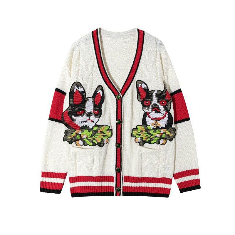 Broderie Jumper Femme Cardigan Hiver De Bloc 2018 Chiens Couleur Vêtements Luxe Piste En Femmes Conception Pull Tricot Tricots Manteau 2EH9eWDIY