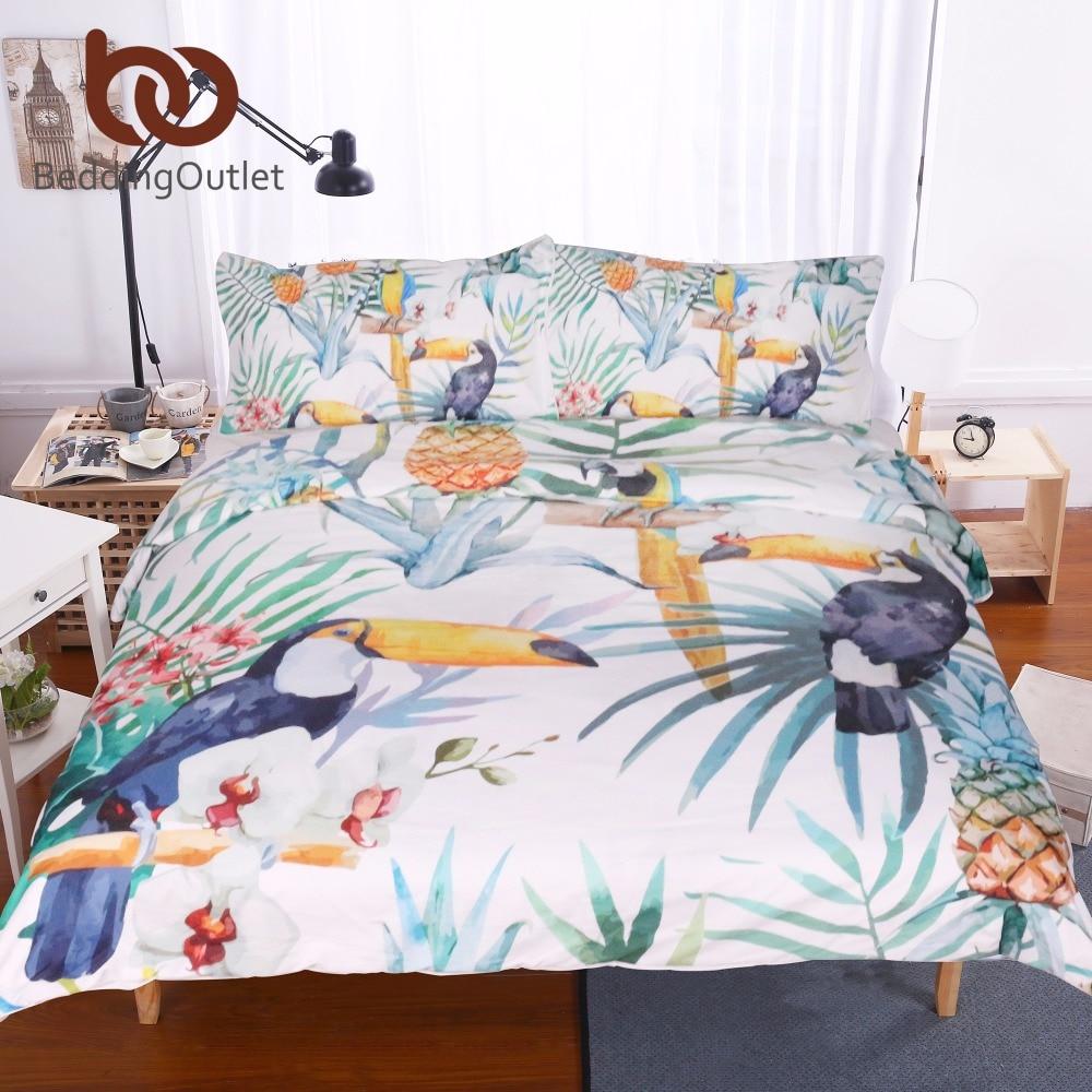 buy beddingoutlet 3 pcs toucan and pineapple duvet cover set with pillowcase tropical plant. Black Bedroom Furniture Sets. Home Design Ideas
