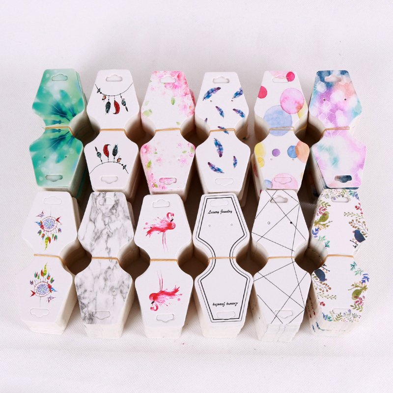 100pcs 4.5x10.8cm Colorful Paper Cards Printing Jewelry Necklace Bracelet Hang Tag Jewelry Display Cards Label Tag High Quality Goods Jewelry Packaging & Display Beads & Jewelry Making