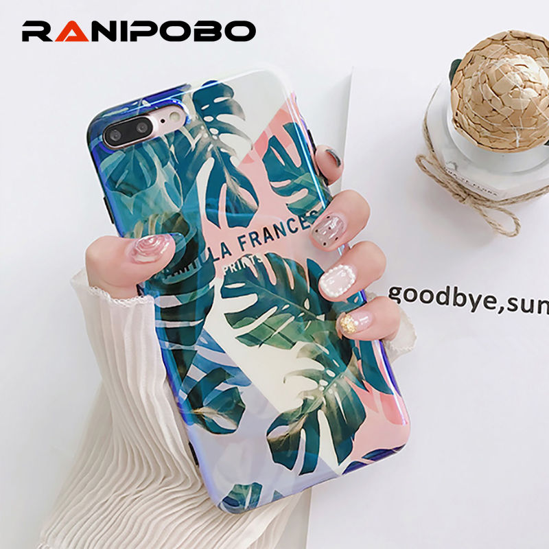 Blu-Ray Glossy Plants Leaves Print Phone Case For iPhone X 6 6S 7 7Plus 8 8Plus Fashion Soft IMD Phone Back Cover Coque