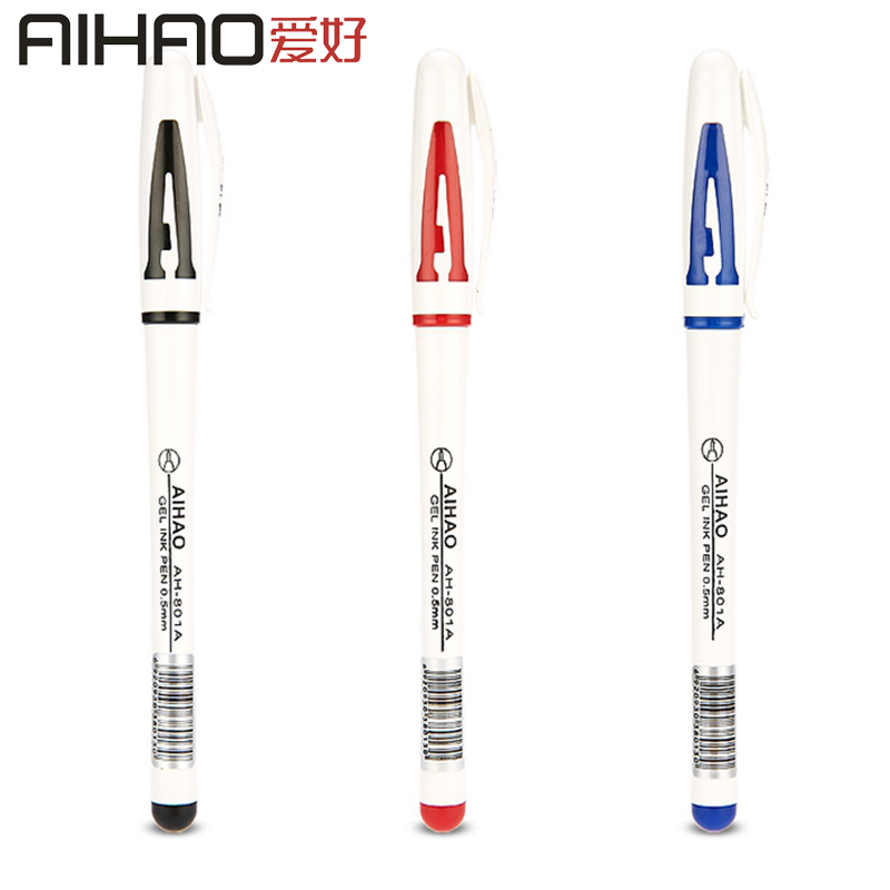 2019 New Arrival AIHAO Brand Smooth Writing Pen Plastic Handle 0.5MM Point Business Sign In Pen 4pcs/box Free Shipping