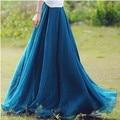 Summer Style Skirts Womens High Waist Pleated Long Skirt Ladies Casual Beach Maxi Skirts saia faldas Color Blue Green Black Red
