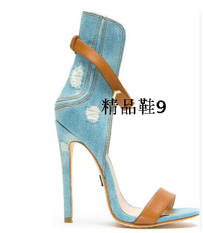 Hot Selling Designer Blue Jeans Ankle Straps High Heels Sandals Cut-out Open Toe Brown Buckle shoes woman Women Drop Shippi