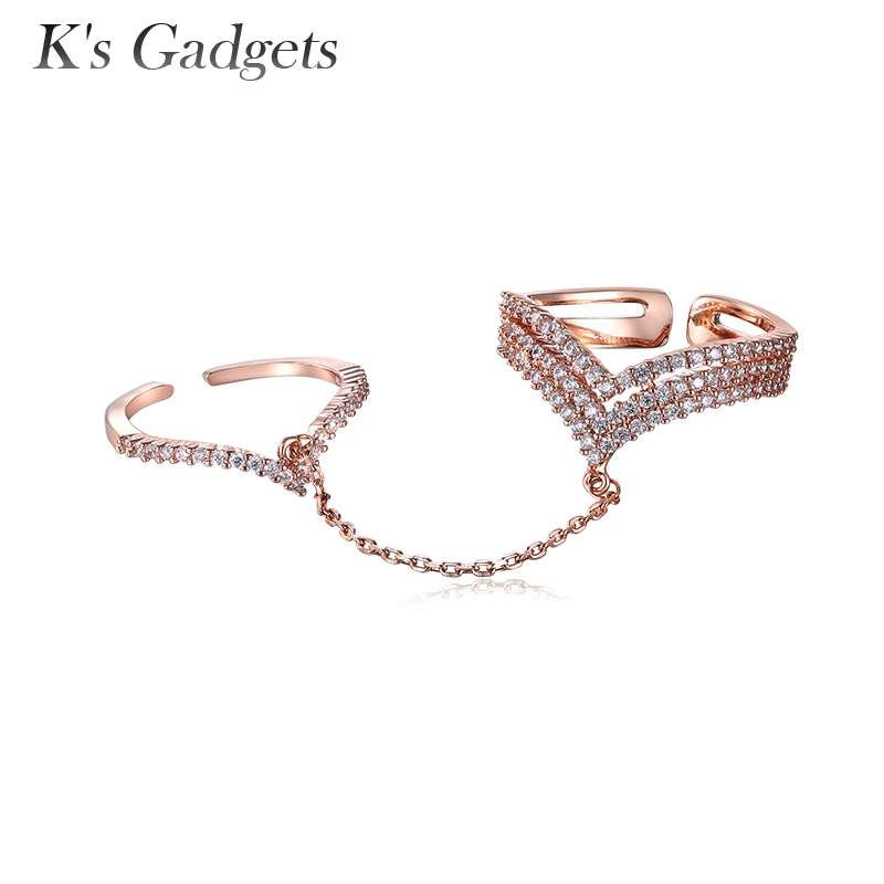 K's Gadgets Double Chain Ring For Women Punk Adjustable Full Rhinestone Zircon Knuckle Silver Rose Gold Color Double Chain Ring omuda xzx10 double ring keychain silver