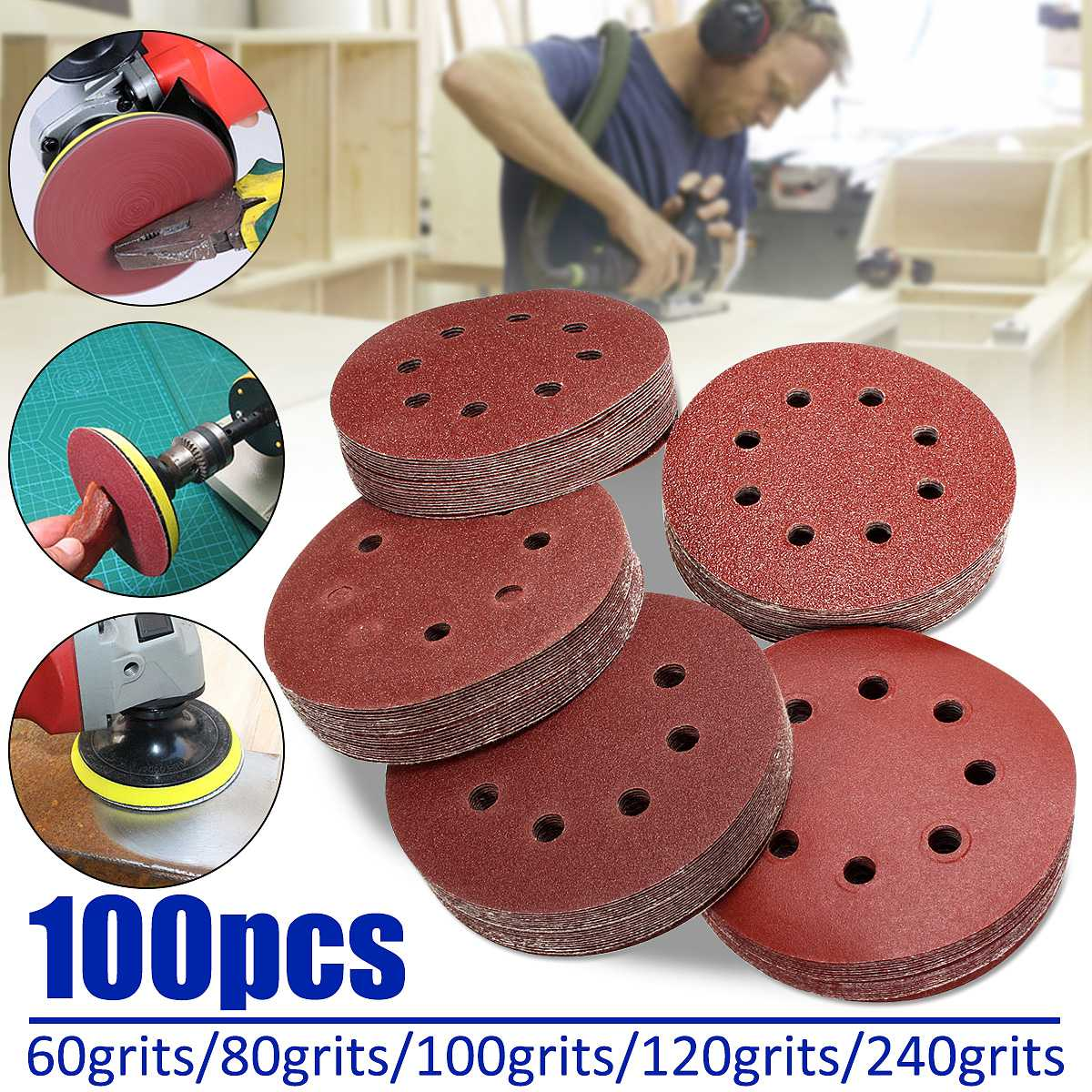 100pcs 125mm/5'' Orbit Sanding Polishing Sheet Sandpaper Round Shape Sander Discs Mixed 60/80/100/120/240 Grit Polish Pad
