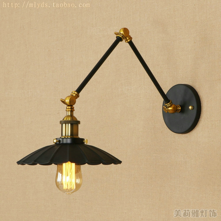 Vintage industrial style loft creative minimalist long arm wall lamp adjustable Handle Metal Rustic Light Sconce Fixtures nordic loft creative loft milan industrial style modern bedroom study long arm living room villa copper bronze wall sconce lamp