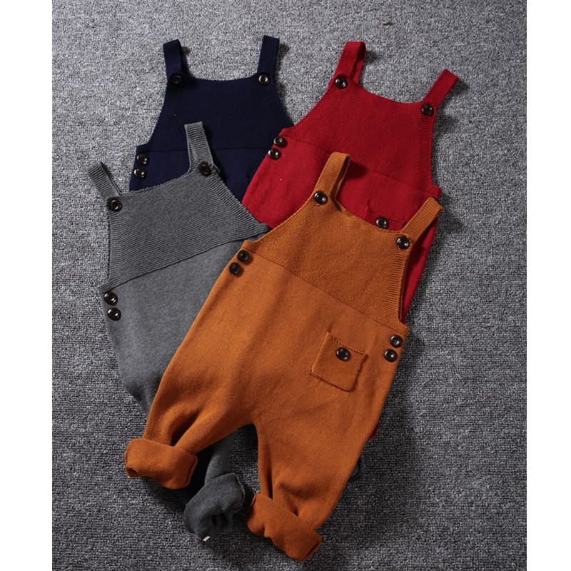 1-5Y New Autumn Unisex Baby Pocket Knitted Rompers Overalls Jumpsuits Boys Girls Candy Color Bib Harem Pants Kids Clothes plus size pants the spring new jeans pants suspenders ladies denim trousers elastic braces bib overalls for women dungarees