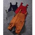 1-5Y Nova Outono Unisex Bebê Bolso de Malha Macacão Macacão Macacões Meninos Meninas Doce Cor Bib Harem Pants Roupa Dos Miúdos