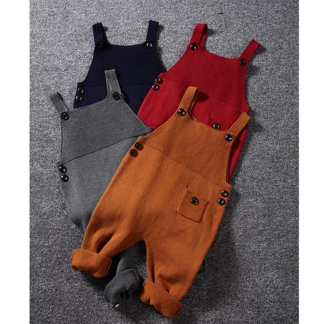 1-5Y Nuevo Otoño Bebé Unisex de Bolsillo de Punto Mamelucos Monos mono Niños Niñas Color Del Caramelo Babero Ropa Pantalones Harén Niños