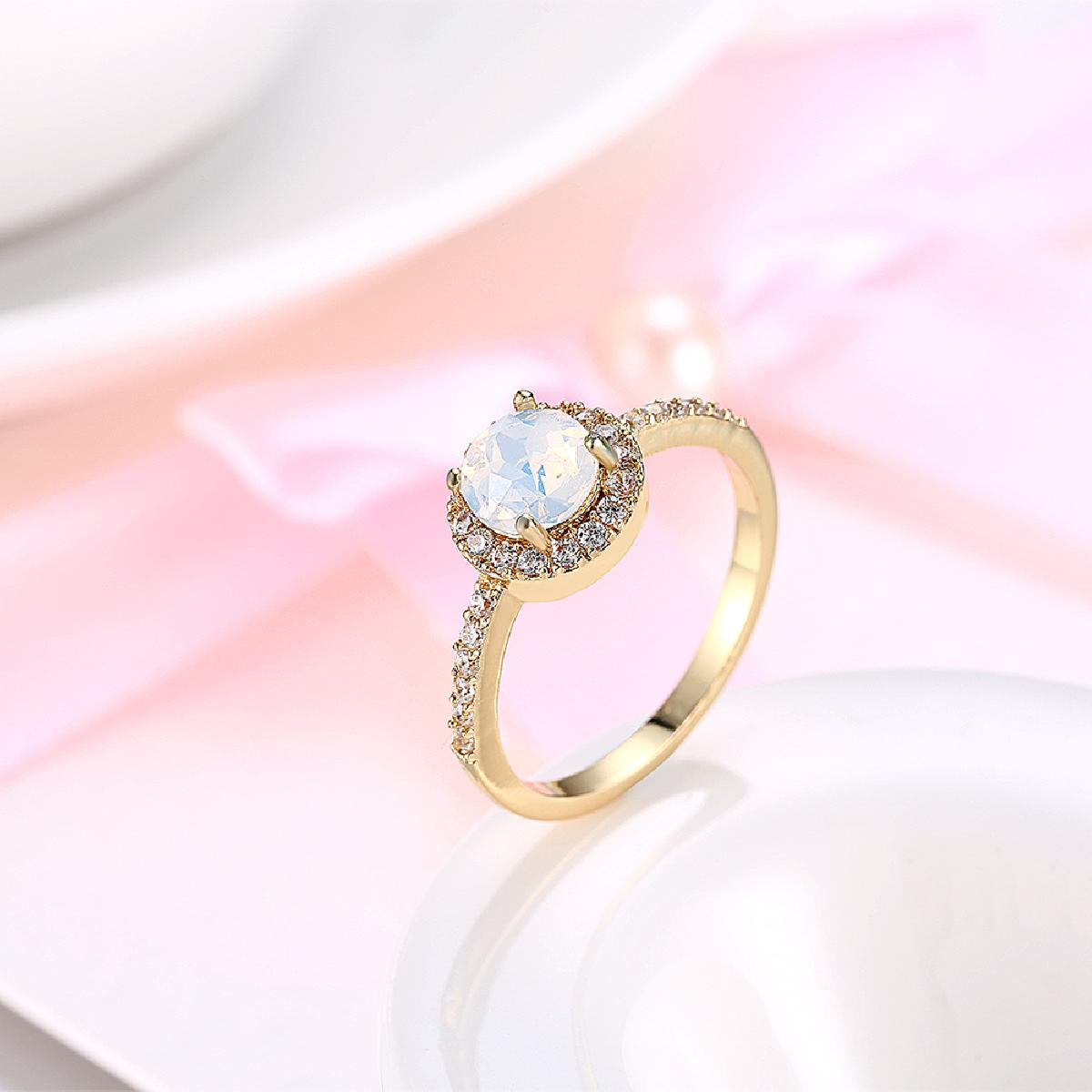 Kiteal Newest Yellow gold color engagement ring round fire opal ...