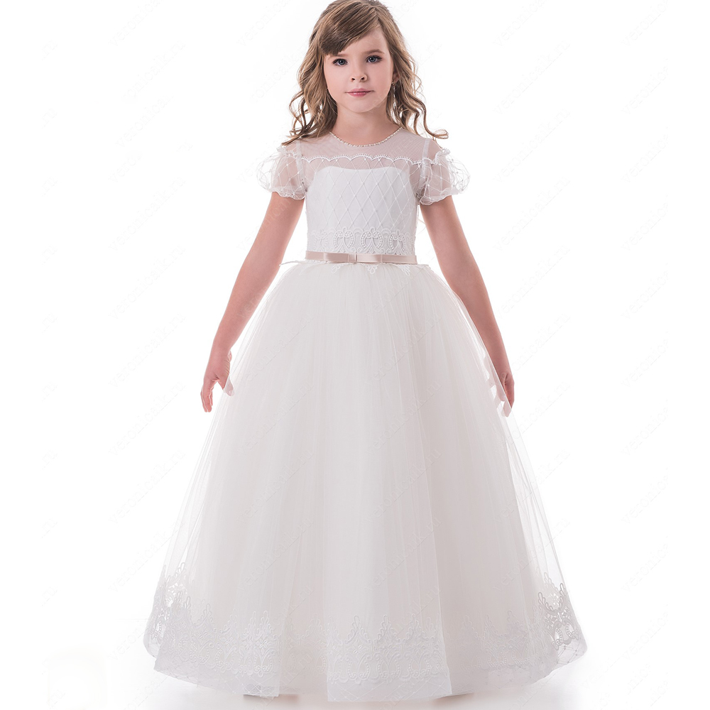 2017 New Arrival Flower Girl Dresses O-neck Formal Ball Gown Appliques Lace Short Sleeves First Communion Gowns Vestidos Longo new arrival flower girls dresses high quality lace appliques beading short sleeve ball gowns custom holy first communion gowns