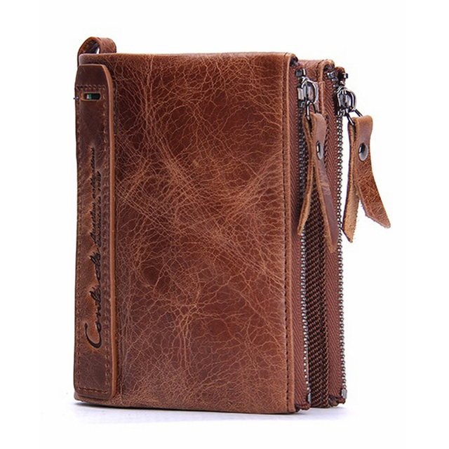 Vintage Genuine Leather Men Wallets with Coin Pocket Zipper Slot Card Holder Designer Cowhide Short Man Purses carteira 2017