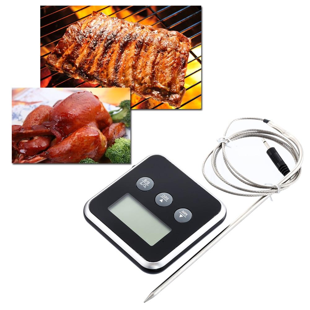 Numérique Aliments Thermomètre Numérique Lcd Affichage Sonde Minuterie Cuisine Outils Température De Cuisson BARBECUE Viande D'eau Chaude Mesure Sonde