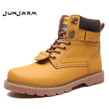JUNJARM New Arrival Mens Ankle Boots Split Leather Mens Work Boots Fashion Men Leather Boots High Quality Warm Men Winter Shoes