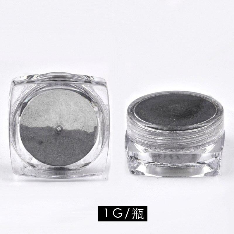 1g box DIY Black Mirror Nail Glitter Powder Dazzling Shining Chrome Pigment Dust Paillettes Nail Art Decorations in Nail Glitter from Beauty Health