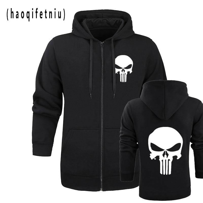 The Punisher Skull Hoodies Men Zipper Fitness Casual Fleece Jacket Harajuku Sweatshirts Drake Streetwear Hoody Homme M-2XL
