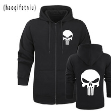 the punisher Skull hoodies men zipper fitness casual fleece