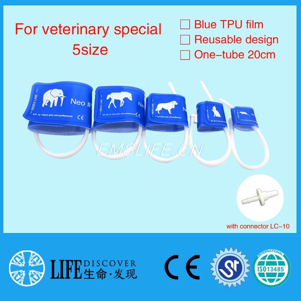 Veterinaria polsino di pressione sanguigna di monitor paziente per piccoli animali con singolo tubo tutte le 5 formati imballaggio con connettore LC-Veterinaria polsino di pressione sanguigna di monitor paziente per piccoli animali con singolo tubo tutte le 5 formati imballaggio con connettore LC-
