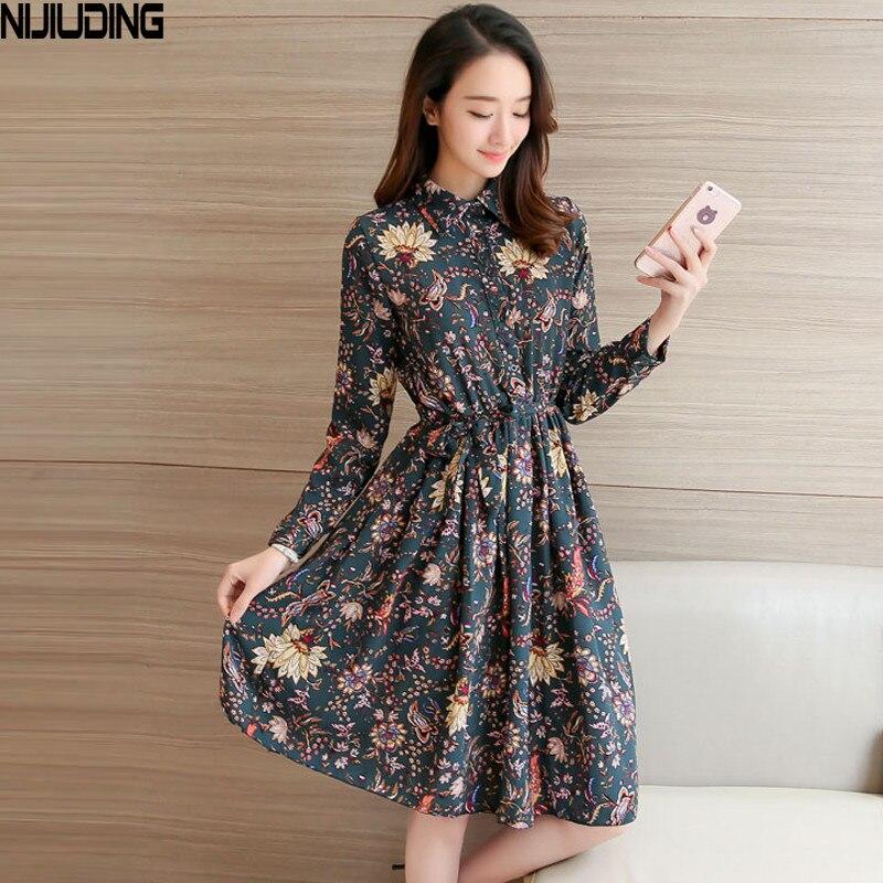 NIJIUDING Floral A-Line Dress Newest 2017 Fashion Turn-down Collar Long Sleeve Women Vintage Spring Chiffon Dresses Dropshipping